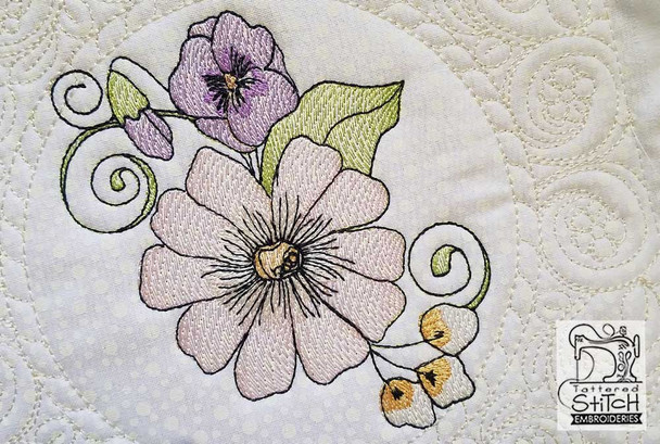 """Daisy Cluster Quilt Block-Fits a  5x5"""", 6x6"""", 8x8"""" & 10x10""""  Hoop - Machine Embroidery Designs"""