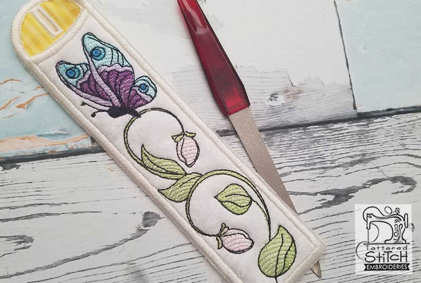 """Butterfly Emery Board & Straw Holder - Fits a 5x7""""6x11"""" & 8x12"""" Hoop - Machine Embroidery Designs"""