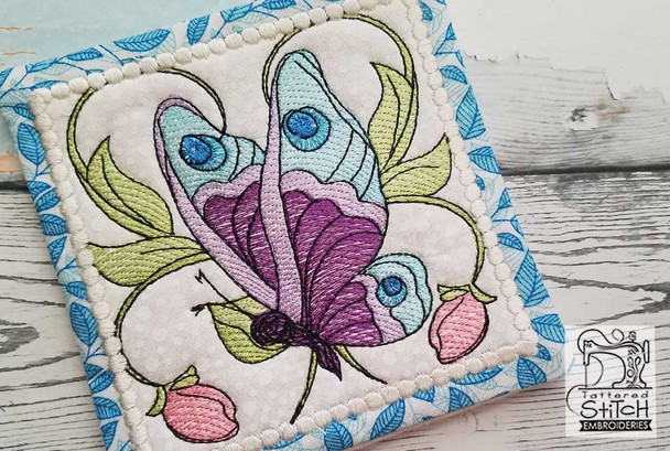 """Butterfly Mug Rug - Fits a 5x7"""" Hoop - Machine Embroidery Designs"""