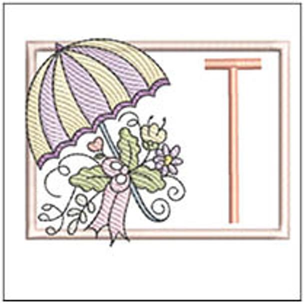 Umbrella Applique ABCs - T - Embroidery Designs