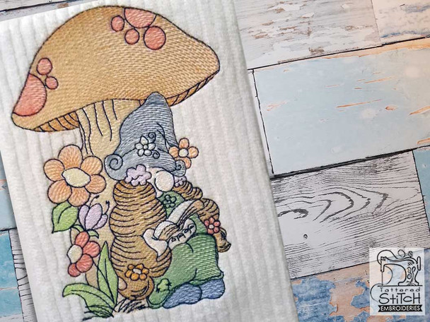 """Reading Gnome - Fits a  4x4"""", 5x7"""" &  8x8"""" Hoop - Machine Embroidery Designs"""