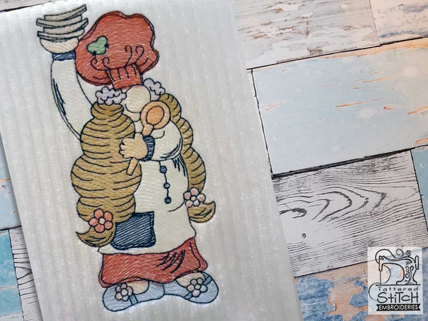 """Girl Chef Gnome - Fits a  4x4"""", 5x7"""" &  8x8"""" Hoop - Machine Embroidery Designs"""