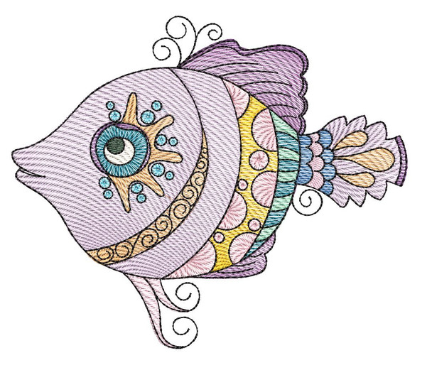 "Minnow (Fish Only - NO Background)-  Fits a 4x4"", 5x7"" and 8x8"" Hoop - Machine Embroidery Designs"