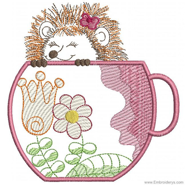 Happy Hedgehog Applique - Embroidery Designs