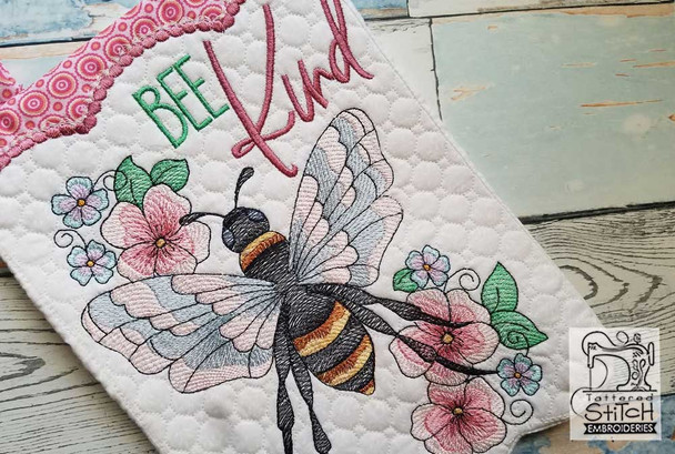 """Bee Kind Garden Flags - Fits  5x7, 6x10  and 8x12"""" Hoop - Instant Downloadable Machine Embroidery"""