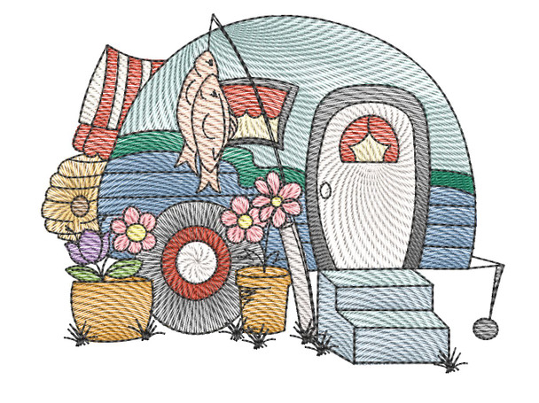"Camper 5 - Fits a  4x4"", 5x7"" &  8x8"" Hoop - Machine Embroidery Designs"