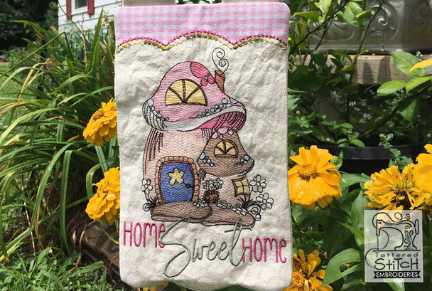 """Home Sweet Home Garden Flag - Fits  5x7, 6x10  and 8x12"""" Hoop - Instant Downloadable Machine Embroidery"""