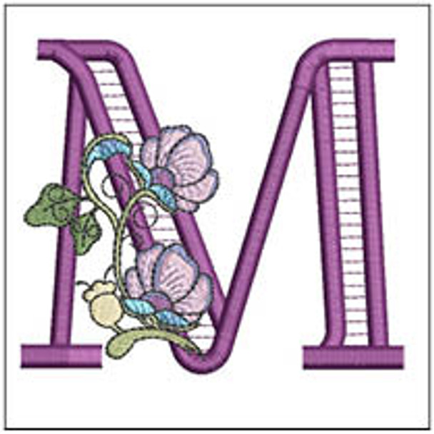 """Jacobean ABCs - M - Fits a 5x7"""" Hoop - Embroidery Designs"""