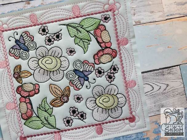 """Whimsical Blooms Quilt Block #2 - Fits a  4x4"""", 5x5"""", 6x6"""", 7x7"""", 8x8"""" & 10x10""""  Hoop - Machine Embroidery Designs"""