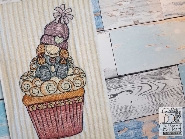 """Cupcake Gnome - Fits a  4x4"""", 5x7"""" &  8x8"""" Hoop - Machine Embroidery Designs"""