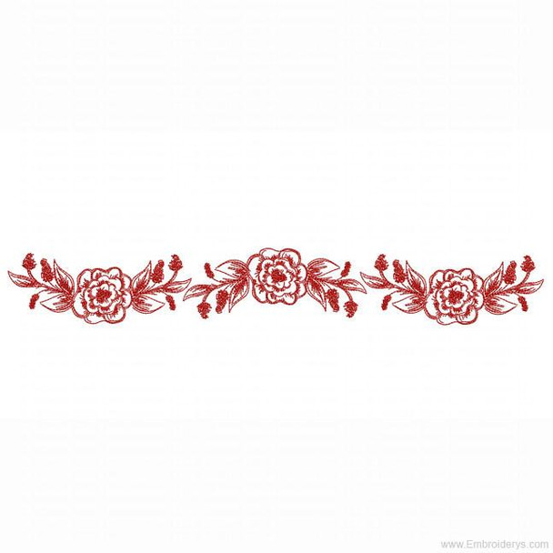 Sketched Floral Border Redwork - Embroidery Designs