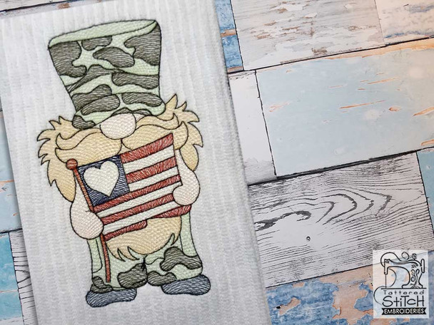 "Military Gnome- Fits a  4x4"", 5x7"" &  8x8"" Hoop - Machine Embroidery Designs"