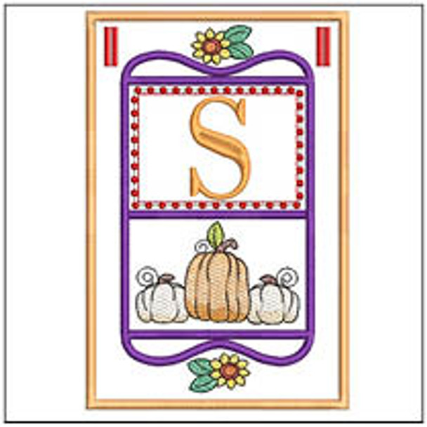 "Fall Folk ABCs Bunting - S - Fits a   5x7""Hoop - Machine Embroidery Designs"