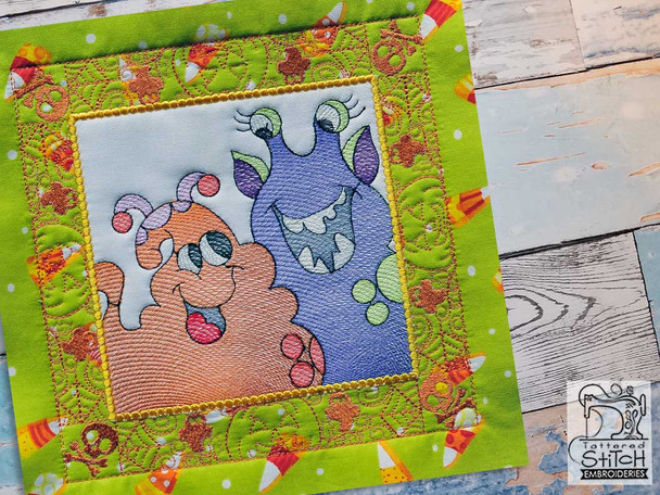 "Monster Pals Quilt Block-Fits a  5x5"", 6x6"", 7x7"", 8x8"" & 10x10""  Hoop - Machine Embroidery Designs"