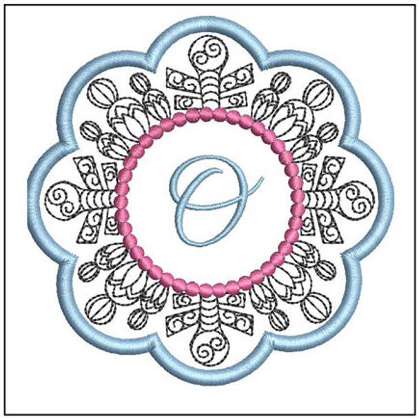 """Snowflake Coaster ABCs - O - Fits a   4x4"""" Hoop - Machine Embroidery Designs"""
