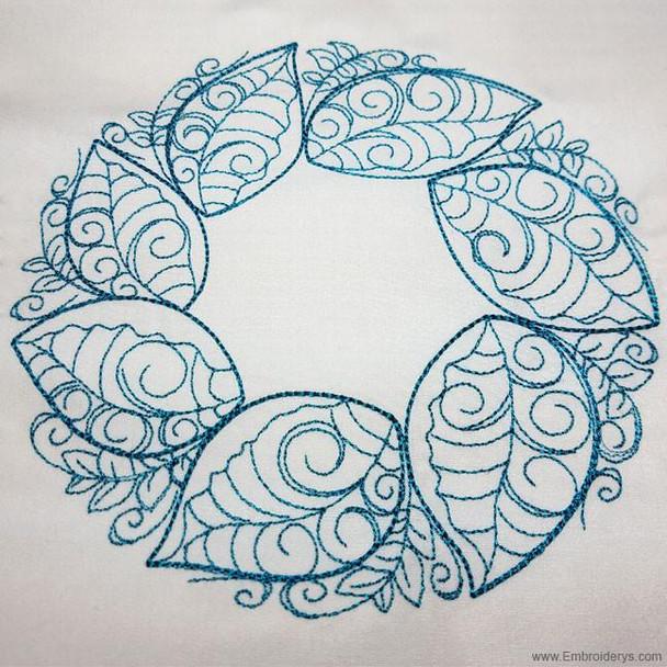 Elegant Spring Leaf Wreath - Embroidery Designs