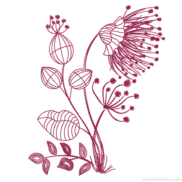 Floral Silhouette 3 Redwork - Embroidery Designs