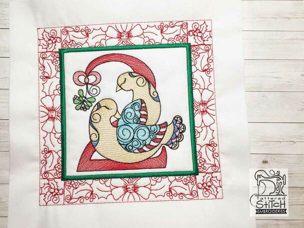 "12 Days of Christmas QB 2 - Fits a  5x5"", 6x6"", 7x7"", 8x8"" & 10x10""  Hoop - Machine Embroidery Designs"