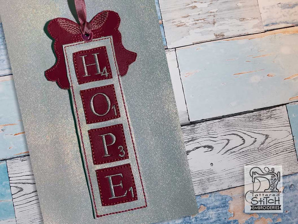 """Hope Scrabble Ornament - Fits a 5x7"""" Hoop - Machine Embroidery Designs"""