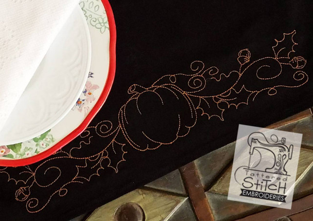 Pumpkin and Vine Red Work - Embroidery Designs