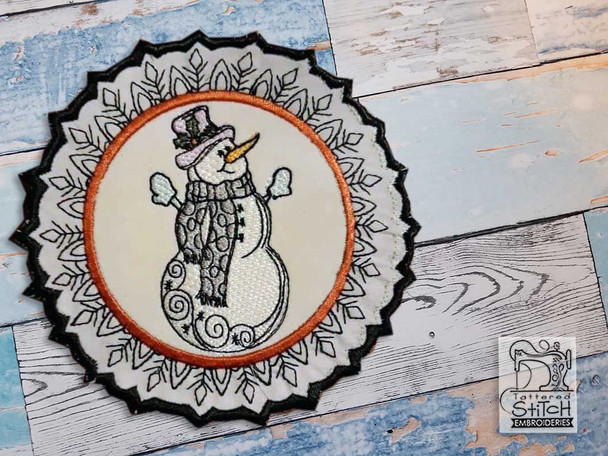 """Snowman Snowflake Coaster - Fits a 5x7"""" Hoop - Machine Embroidery Designs"""