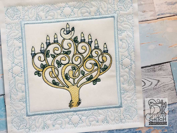 """9 Candle Menorah Quilt Block- Fits a 5x5"""", 6x6"""", 7x7"""", 8x8"""" & 10x10""""  Hoop - Machine Embroidery Designs"""