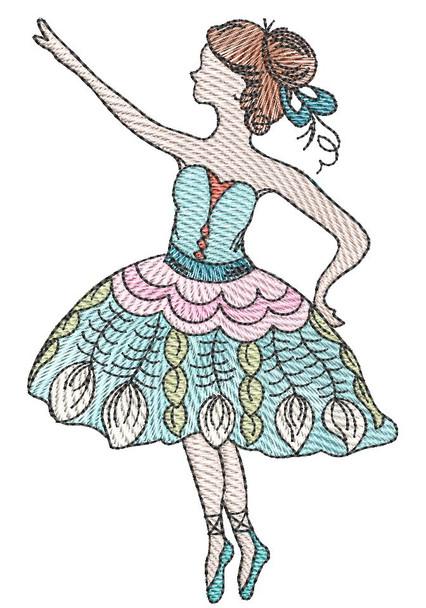"Ballerina - Fits a  4x4"", 5x7"" &  8x8"" Hoop - Machine Embroidery Designs"