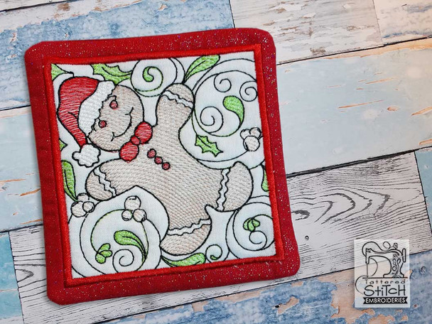 """Gingerbread Man Coaster - Fits a 5x7"""" Hoop - Machine Embroidery Designs"""