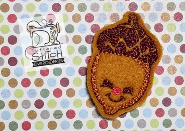 Smiling Acorn Feltie - Embroidery Designs