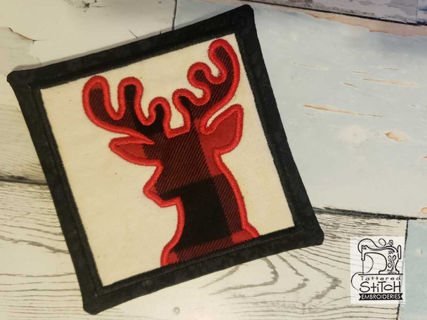 """Deer Applique Coaster - Fits a 5x7"""" Hoop - Machine Embroidery Designs"""