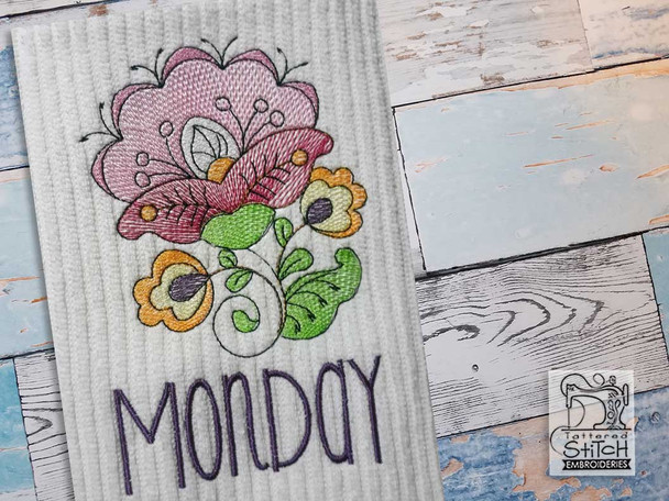 """Jacobean - Monday- Fits into a 4x4"""" & 5x7"""" Hoop - Instant Downloadable Machine Embroidery"""