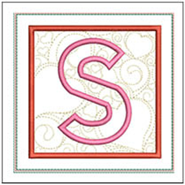 """Hearts ABCs Coaster- S - Fits a 5x7"""" Hoop - Machine Embroidery Designs"""