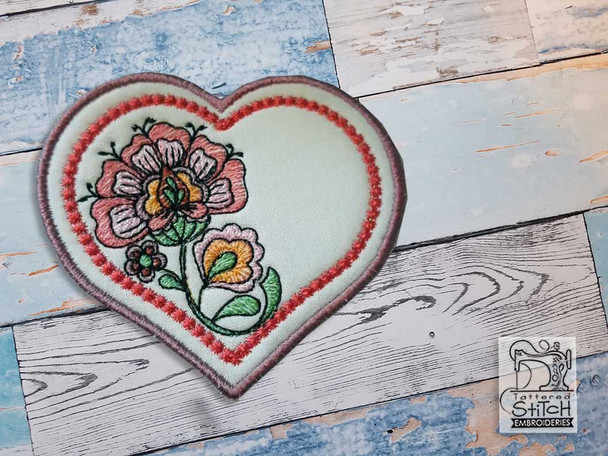 "Jacobean Heart Coaster 3 - Fits a 4x4""  Hoop - Machine Embroidery Designs"