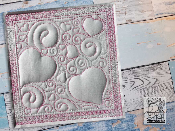 """Hearts Quilt Block Background -Fits a  5x5"""", 6x6"""", 7x7"""", 8x8"""" & 10x10""""  Hoop - Machine Embroidery Designs"""