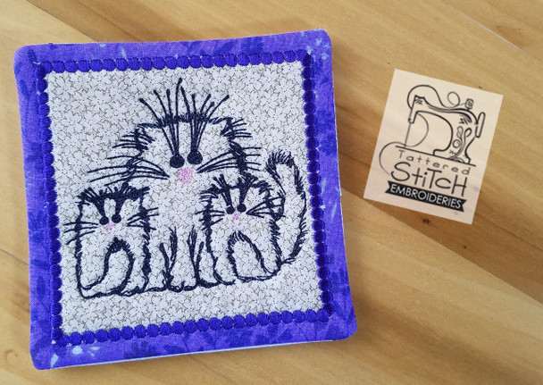 three cats mug rug in the hoop machine embroidery designs