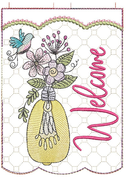 """Welcome Garden Flag - Fits  5x7, 6x10  and 8x12"""" Hoop - Instant Downloadable Machine Embroidery"""