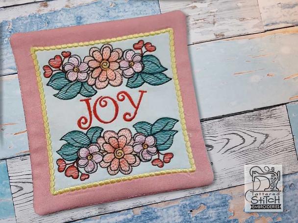 "Joy - Wildflower Coaster - Fits a 5x7"" Hoop - Machine Embroidery Designs"