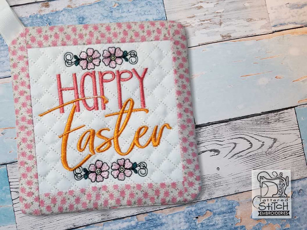 """Happy Easter Pot Holder- Fits a 6x6"""" & 8x8"""" Hoop - Machine Embroidery Designs"""