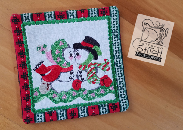 Vintage Snowmen Coaster Machine Embroidery Designs
