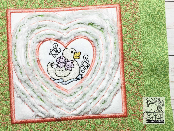 """Baby Heart 5 Chenille QB -  Fits a   6x6"""", 7x7"""", 8x8"""" & 10x10""""  Hoop - Machine Embroidery Designs"""
