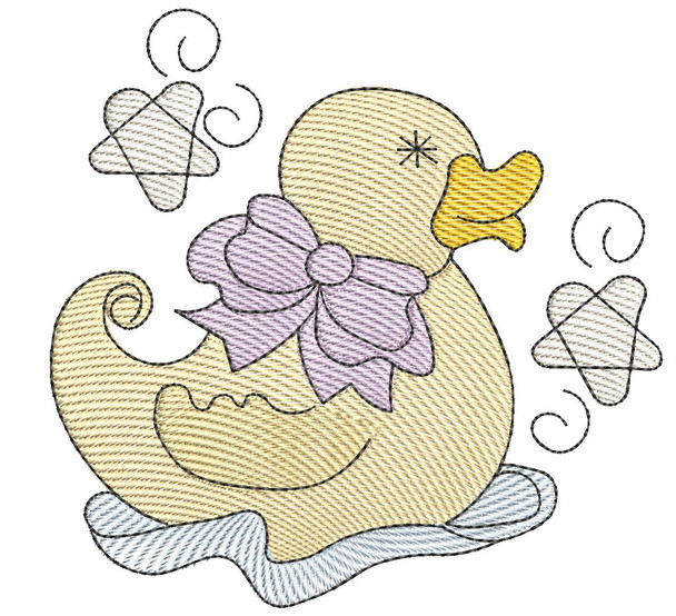 """Baby Duck - Fits into a 4x4"""" & 5x7"""" Hoop - Instant Downloadable Machine Embroidery"""