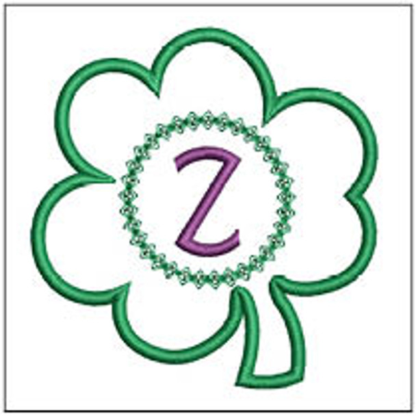 """Clover Applique ABCs - Z - Fits a 4x4"""" Hoop - Machine Embroidery Designs"""