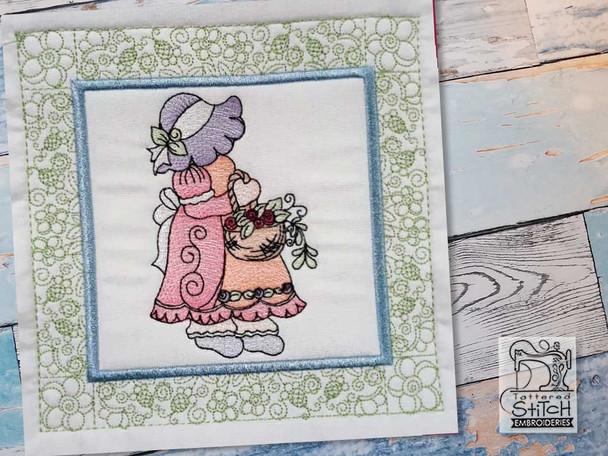 "Sunbonnet Sue Quilt Block 6 -  Fits a  5x5"", 6x6"", 7x7"", 8x8"" & 10x10""  Hoop - Machine Embroidery Designs"