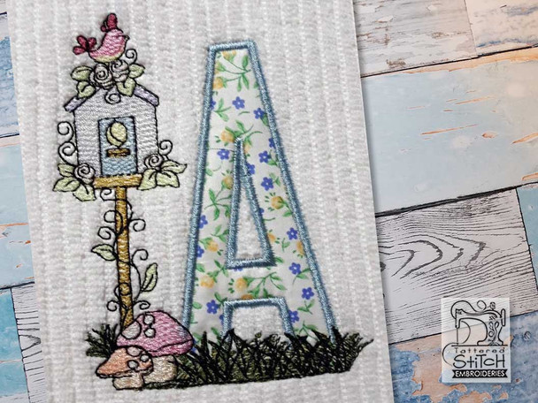 "Birdhouse Applique ABCs - A - Fits a 5x7"" Hoop - Machine Embroidery Designs"