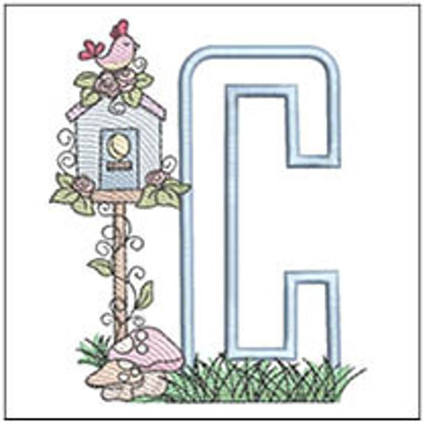 "Birdhouse Applique ABCs - C - Fits a 5x7"" Hoop - Machine Embroidery Designs"