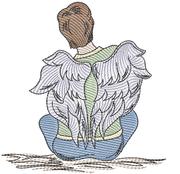"""Angel  - Fits into a 4x4"""", 5x7"""" & 8x8"""" Hoop - Instant Downloadable Machine Embroidery"""