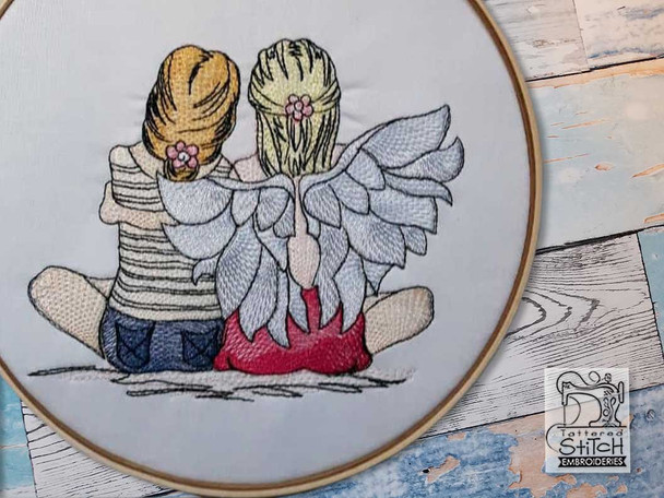 "Guardian Angel 3 - Fits into a 4x4"", 5x7"" & 6x10"" Hoop - Instant Downloadable Machine Embroidery"