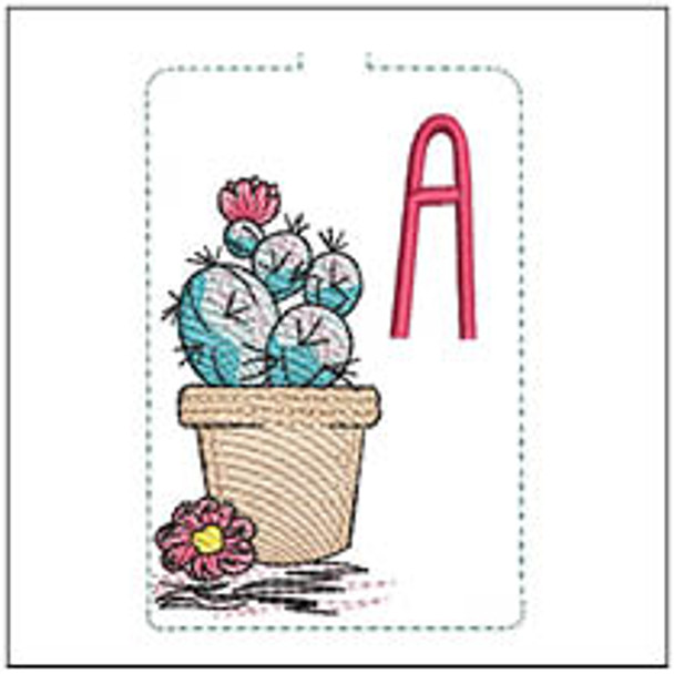 """Prickly Pear ABCs Keychain - A - Fits a 5x7"""" Hoop - Machine Embroidery Designs"""