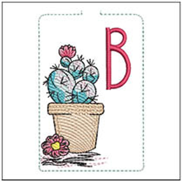 """Prickly Pear ABCs Keychain - B - Fits a 5x7"""" Hoop - Machine Embroidery Designs"""
