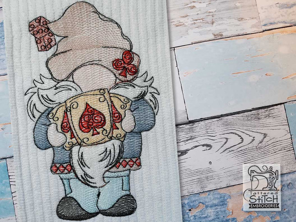 """Gnome with Cards -  Fits a   4x4"""", 5x7"""" & 6x10""""   Hoop - Machine Embroidery Designs"""